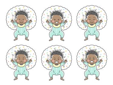 ベビー服を着た授乳クッションで寝転ぶ黒人の赤ちゃんのイラストセット