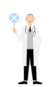 白衣のシニア男性医師がバツの棒を持つ・答え合わせのポーズ