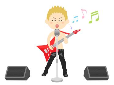 男性ロックミュージシャンのコンサートのイラスト
