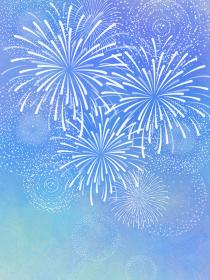 夏の風物詩 打ち上げ花火 水彩風 ブルー