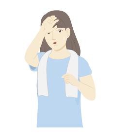 運動の後に汗を拭う女性