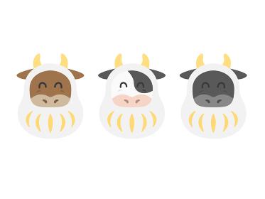 達磨のきぐるみを着た牛のイラストセット