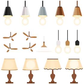 イラスト素材 ライト 照明器具 天井照明 吊下げ灯 ベクター