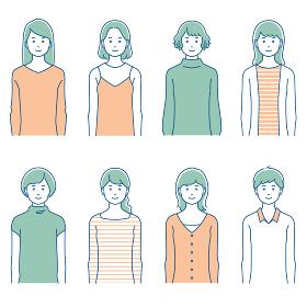 正面向きの若い女性セット/3色