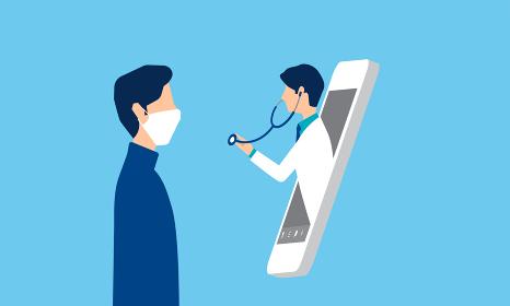 診察をするスマホの医師、オンライン診療のイメージ