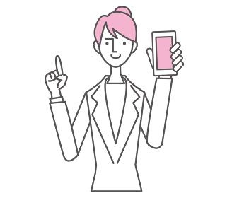 ビジネス 女性 スマートフォン 説明