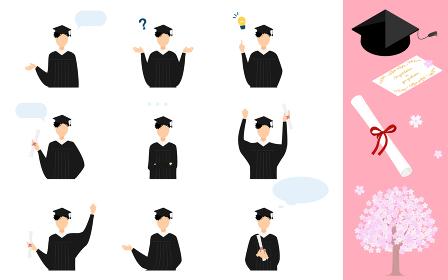 卒業式でガウンと角帽をまとった人物のポーズ