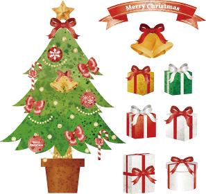 クリスマスツリーとプレゼント 水彩イラストセット