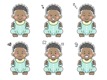 ハイハイをする黒人の赤ちゃんのイラストセット