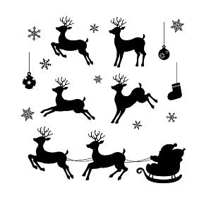 クリスマス素材 / トナカイ・サンタクロースのシルエットイラストセット