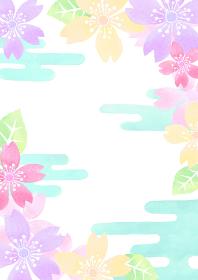 水彩で描いた和風の桜の背景