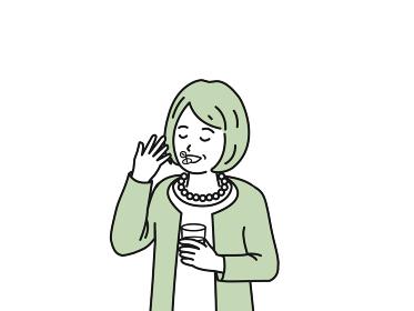 錠剤 サプリ 薬を飲む 年配の女性 シニア 高齢者 健康 イラスト素材
