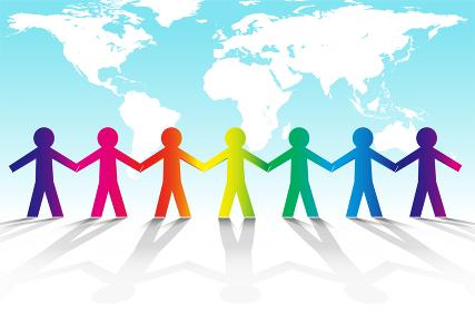 ベクター・手を取り合う人々と地球のグローバルイメージ