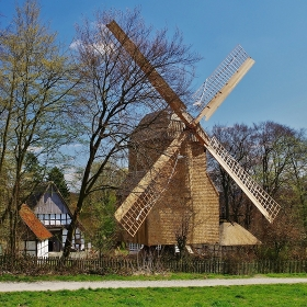 windmill in bauernhausmuseum bielefeld - after completed restoration in february 2015