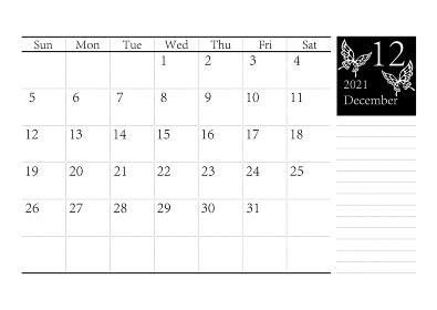 胡蝶 アゲハチョウのシンプルなモノクロのカレンダー 2021年12月 ベクター