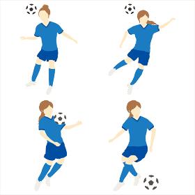 サッカーをする女性シンプルセット02
