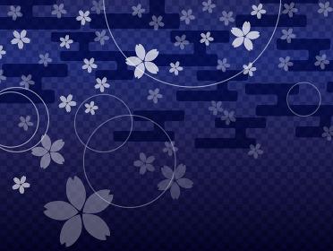 和風な紺色の桜のシルエットの背景