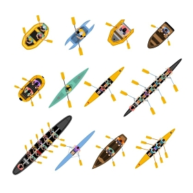 Rafting Kayaking Top View Set. Rafting kayaking top view set with boats of different forms and colors with people inside isolated vector illustration
