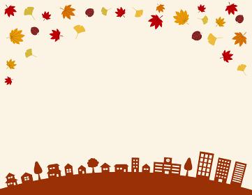 秋の街並みと紅葉|背景イラスト