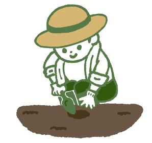 シャベルで穴を掘る人