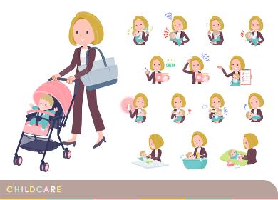 赤ちゃんのお世話をする金髪ビジネス女性のセット