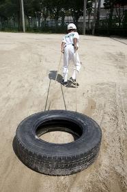 少年野球のタイヤトレーニング