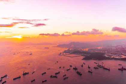 Beautiful colorful sunset in hong kong city skyline