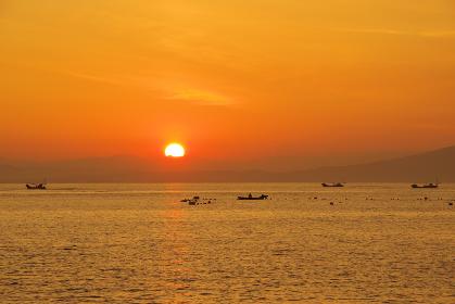 有明海で漁をする風景