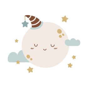 かわいい満月または惑星のキャラクター