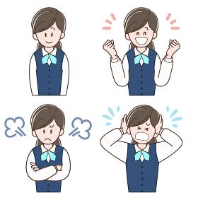 制服の女性の表情セット