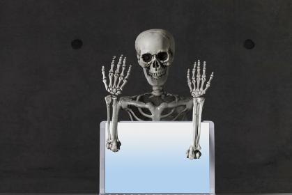 パソコンを持つ骸骨