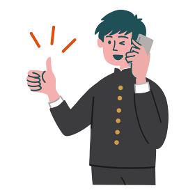 学ラン 学生 男性 携帯電話 スマホ いいね 親指を立てる