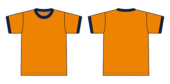 半袖リンガーTシャツ イラスト(オレンジxネイビー)