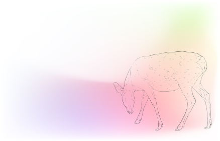 写実的な動物イラスト:玉虫色の背景:雌鹿が