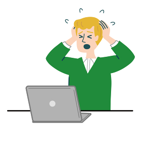 男性 外国人 ブロンド パソコン 衝撃 焦っている