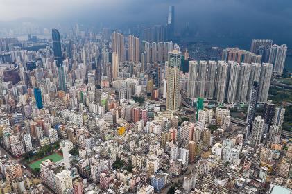 Aerial view of Hong Kong district with thunderstorm