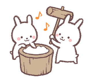 餅つきをするウサギ
