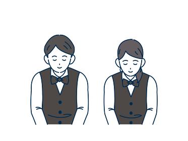 お辞儀をする店員 スタッフ 男女 いらっしゃいませ 頭を下げる 挨拶 感謝 イラスト素材