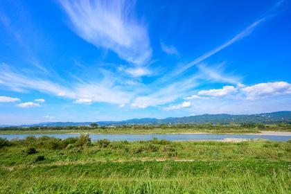 綺麗な夏の青空と田園風景