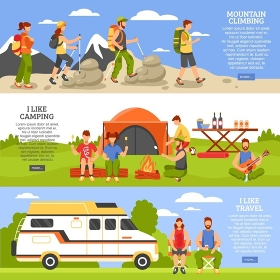 Outdoor Climbing Banners Set. Set of three camping and hiking horizontal banners with outdoor climbing people compositions read more button vector illustration