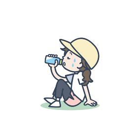 運動中、水分補給をする女性のイラスト