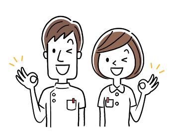 ベクターイラスト素材:オッケーサインを出す若い看護師、男女