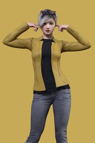 ショートヘアのクールな女性がジャケットを羽織り両耳を人差し指でふさいで仁王立ちしているポーズ