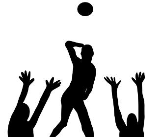 試合をするバレーボールのシルエット