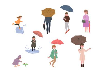 雨の日の街の人々のイラストセット