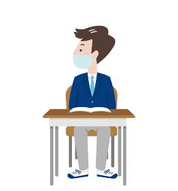 マスクをして席につく横向きの男子学生