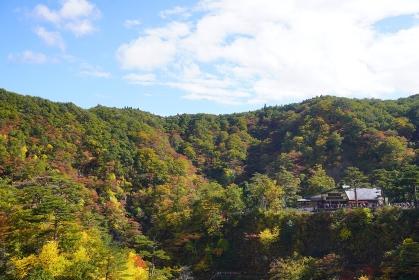 紅葉した山の中の鳴子峡レストハウス、宮城県大崎市