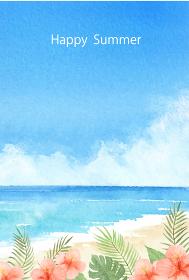 暑中はがき 空と海とハイビスカス 水彩イラスト