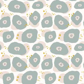 レトロモダン、北欧風の花のシームレスパターン