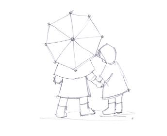 レインコートを着た姉妹の線画イラスト